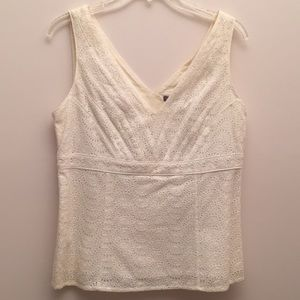 Ann Taylor Eyelet V-Neck Sleeveless Blouse